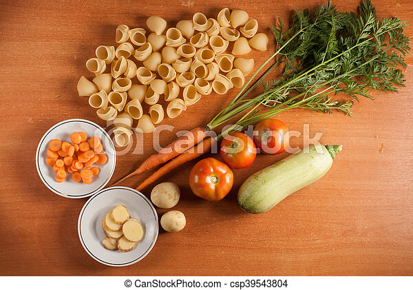 organic food on a wooden table, - csp39543804