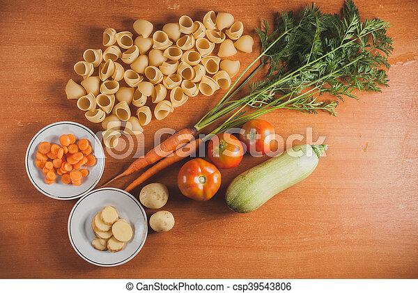 organic food on a wooden table, - csp39543806