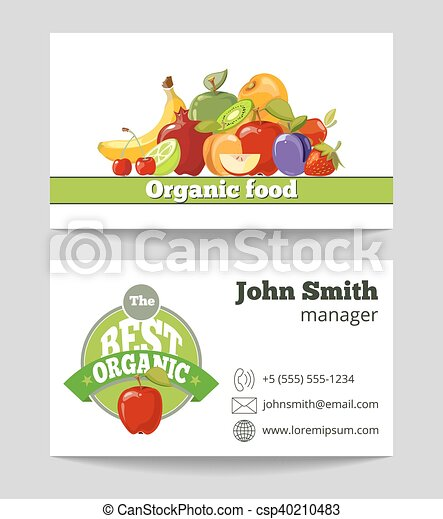 Organic food shop business card template for the fruit farm vector organic food shop business card template csp40210483 wajeb Gallery
