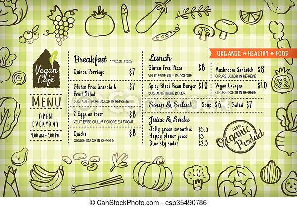 organic food vegan restaurant menu board or placemat template - csp35490786