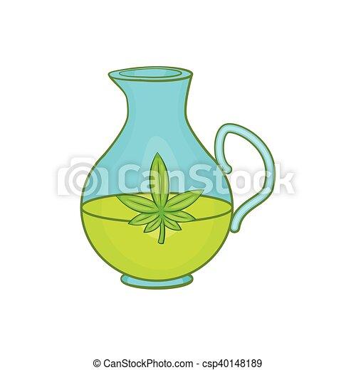 Organic hemp oil icon, cartoon style - csp40148189
