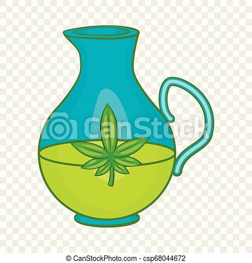 Organic hemp oil icon, cartoon style - csp68044672