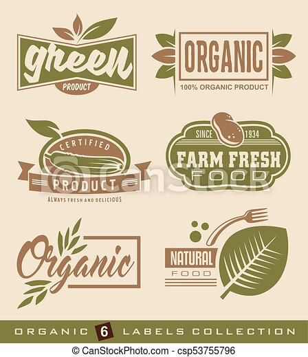 Organic natural food labels and stickers collection - csp53755796