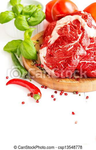 Organic Red Raw Steak Sirloin and chilli - csp13548778