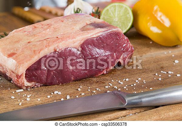 Organic Red Raw Steak Sirloin on wooden board - csp33506378