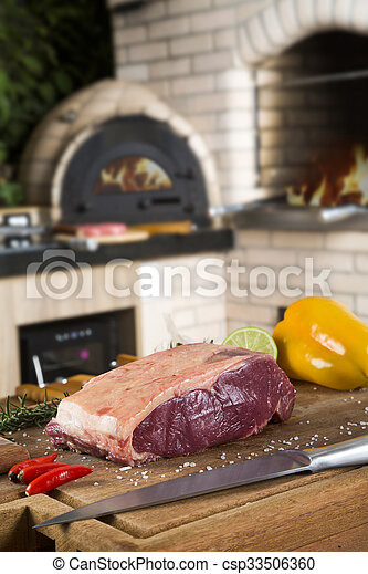 Organic Red Raw Steak Sirloin on wooden board - csp33506360