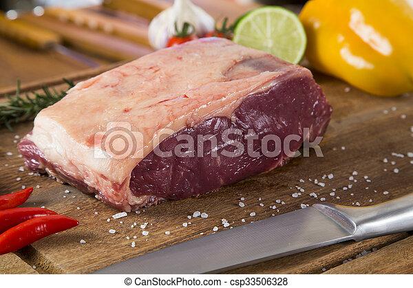 Organic Red Raw Steak Sirloin on wooden board - csp33506328