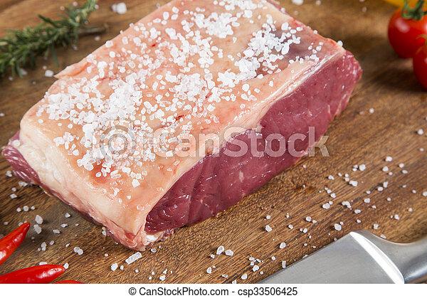 Organic Red Raw Steak Sirloin on wooden board - csp33506425