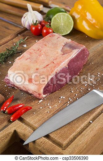 Organic Red Raw Steak Sirloin on wooden board - csp33506390