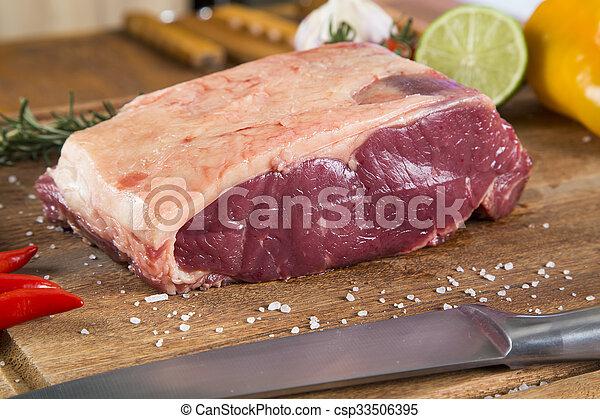 Organic Red Raw Steak Sirloin on wooden board - csp33506395