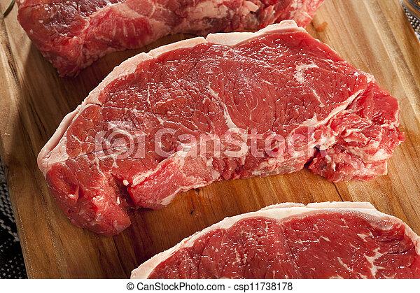 Organic Red Raw Steak Sirloin - csp11738178