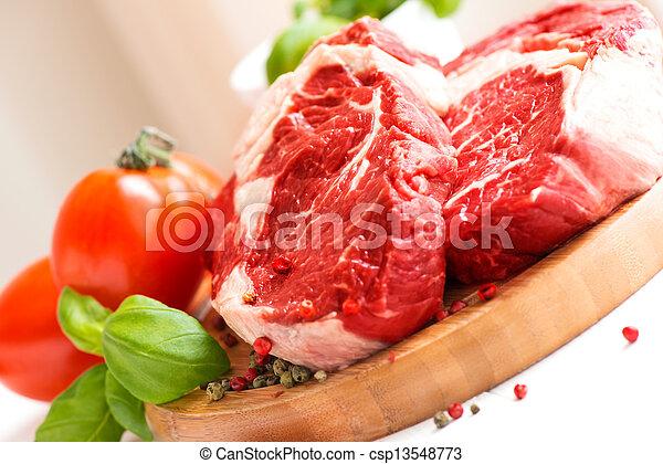 Organic Red Raw Steak Sirloin - csp13548773