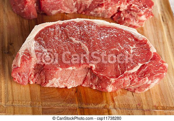 Organic Red Raw Steak Sirloin - csp11738280