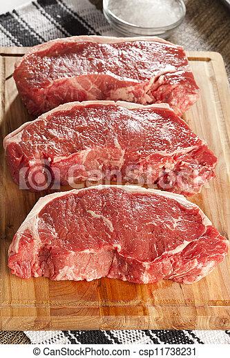 Organic Red Raw Steak Sirloin - csp11738231