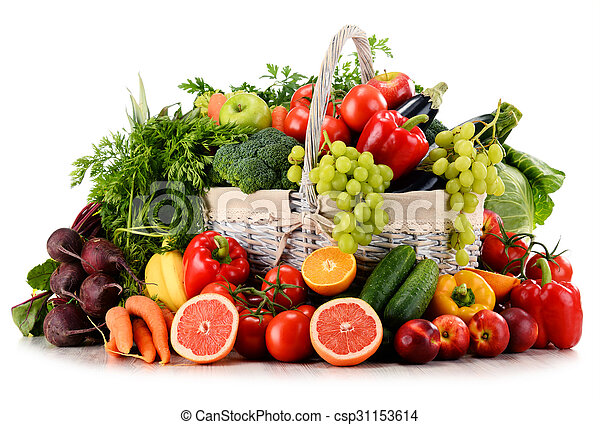 Organic vegetables and fruits in wicker basket isolated on white - csp31153614