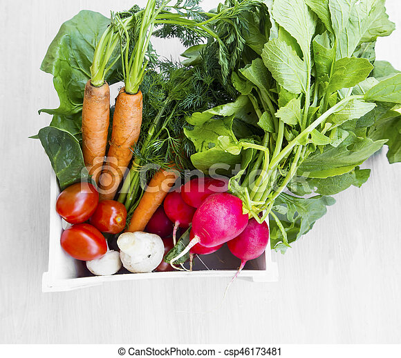 Organic vegetables harvest in wooden crate with fresh broccoli, tomatoes, carrots, zuchinni, radishes - csp46173481