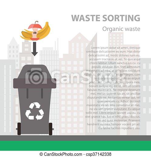 Organic waste sorting flat concept. - csp37142338