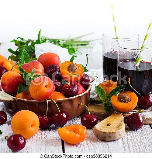 organique, mûre, céramique, bol, abricots, cerises - csp38356214