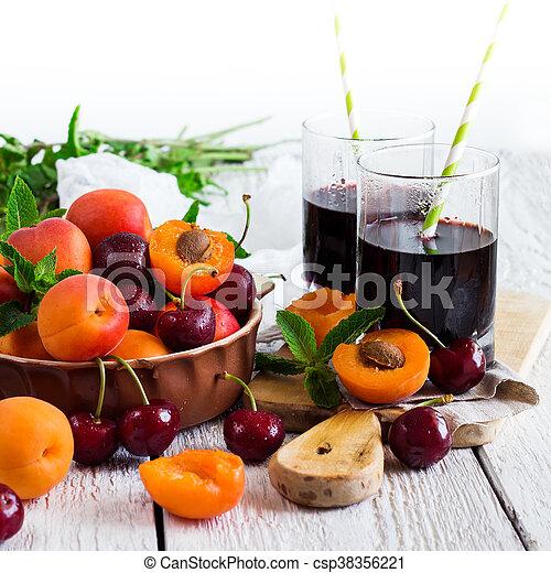 organique, mûre, céramique, bol, abricots, cerises - csp38356221