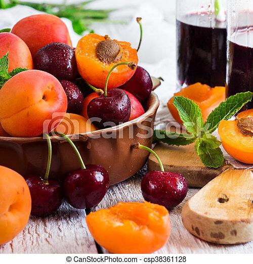 organique, mûre, céramique, bol, abricots, cerises - csp38361128
