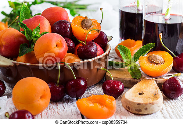 organique, mûre, céramique, bol, abricots, cerises - csp38359734