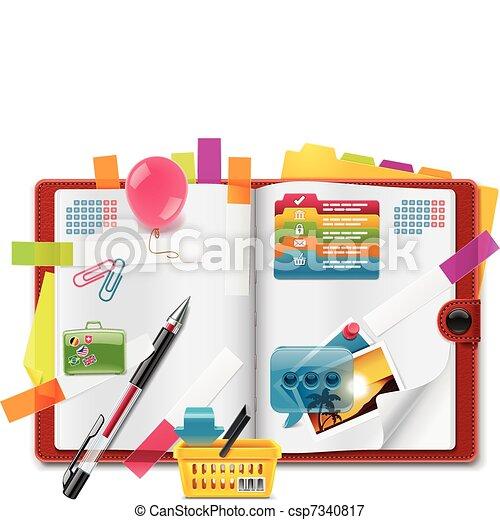 organisateur, caractéristiques, vecteur, personnel - csp7340817