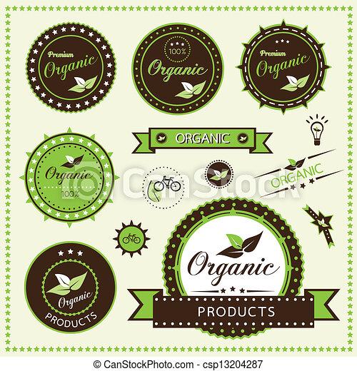 organisch, etiketten, set - csp13204287