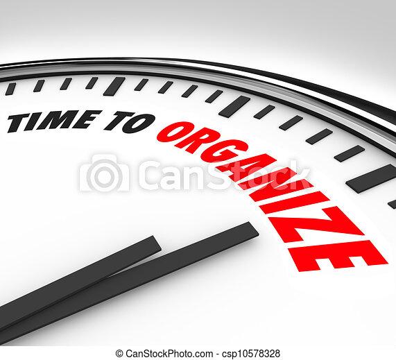 organize, relógio, momento, tempo, coordenada, agora, ordem - csp10578328