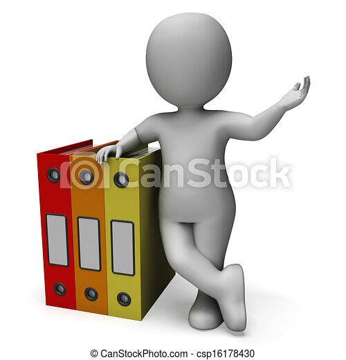 Organizing Clerk Shows Organized Records - csp16178430