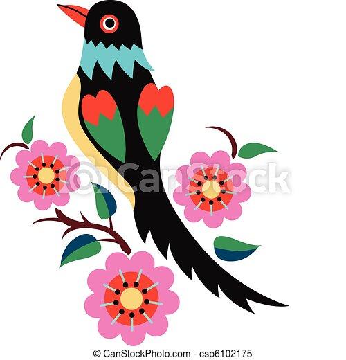 Oriental arbre oiseau chinois - Dessin arbre chinois ...
