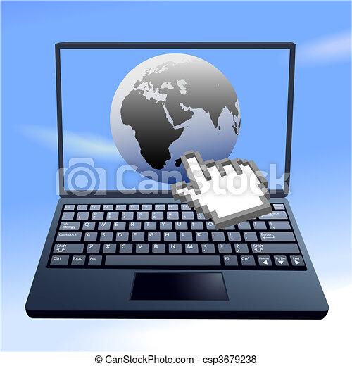 El cursor manual hace clic en la computadora del cielo del mundo oriental de Internet - csp3679238