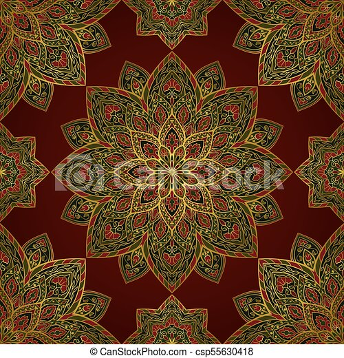 Oriental Colorful Pattern Oriental Filigree Pattern Of Mandala Vector Colorful Background Template For Textile Carpet