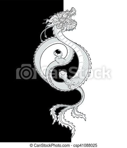 Oriental Dragon Yin-Yang - csp41088025
