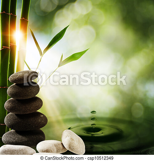 Oriental eco backgrounds with bamboo and water splash - csp10512349