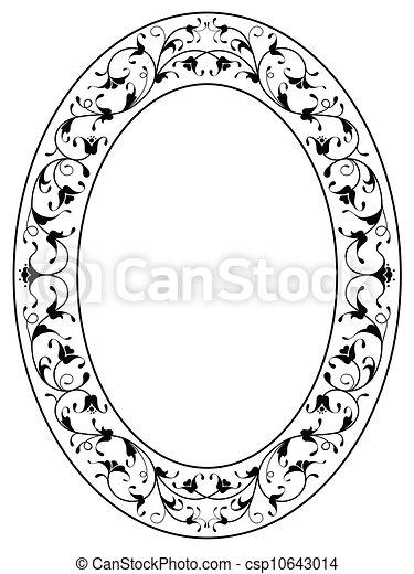 oriental floral ornamental black oval frame - csp10643014