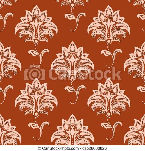 Oriental floral seamless pattern on maroon background - csp26608826