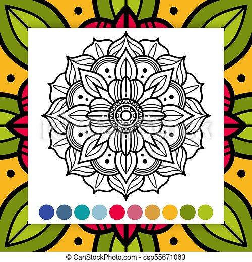 Oriental Flower Mandala Antistress Adults Coloring Page