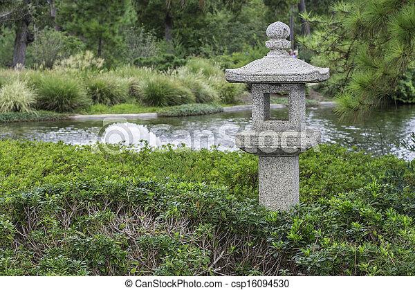 Oriental garden pagoda statue. A large concrete pagoga statue ...