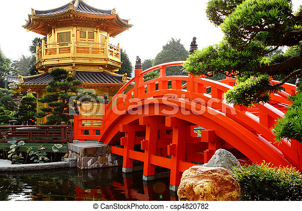 oriental golden pavilion of Chi Lin Nunnery and Chinese garden, landmark in Hong Kong . - csp4820782