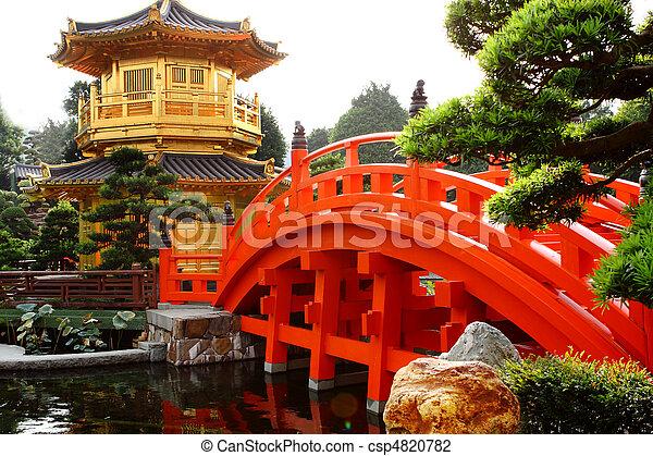 oriental golden pavilion of Chi Lin Nunnery and Chinese garden, landmark in Hong Kong . - csp4820782