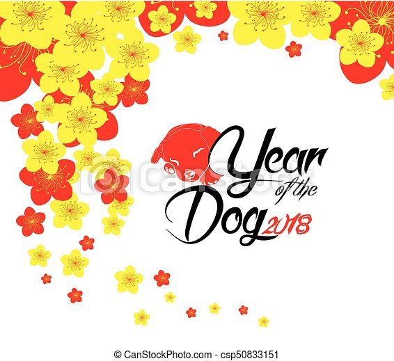 oriental happy chinese new year 2018 year of the dog