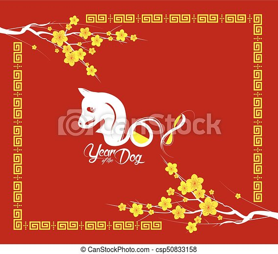oriental happy chinese new year 2018 year of the dog csp50833158