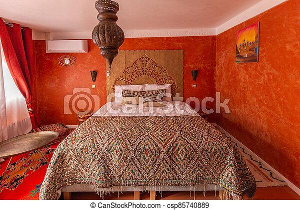 Oriental interior of a bedroom - csp85740889