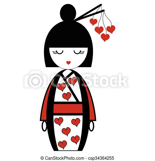 Oriental Japanese Geisha Doll With Kimono With Orinetal
