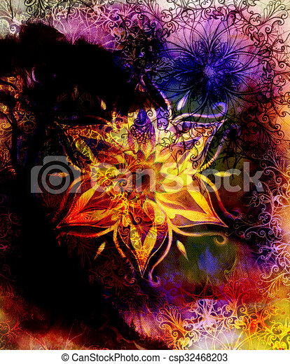Oriental Ornamental Mandala And Color Abstract Background With Fire - Mandalas-en-color