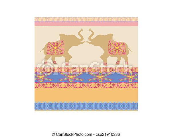 Oriental pattern with elephants - csp21910336