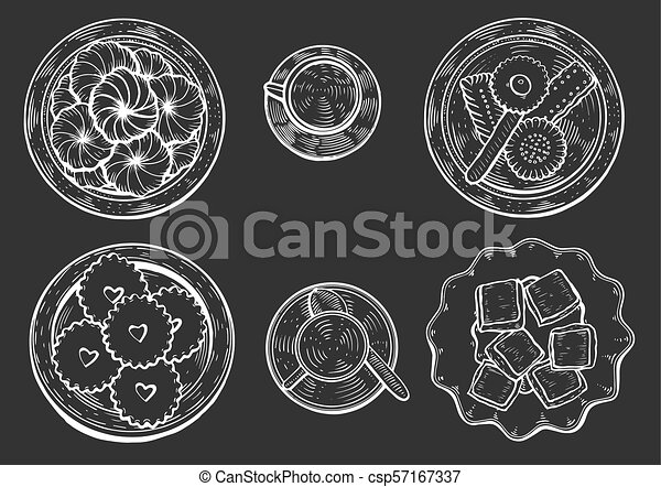 Hand Drawn Oriental Sweets Vector Illustration Middle Eastern Food