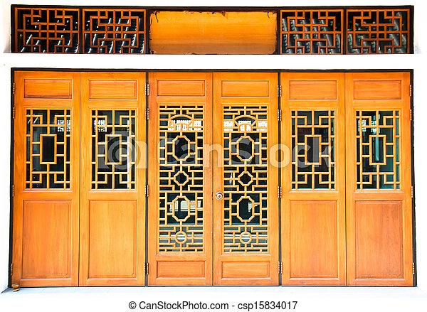 Oriental wooden door with traditional pattern - csp15834017 & Oriental wooden door with traditional pattern.