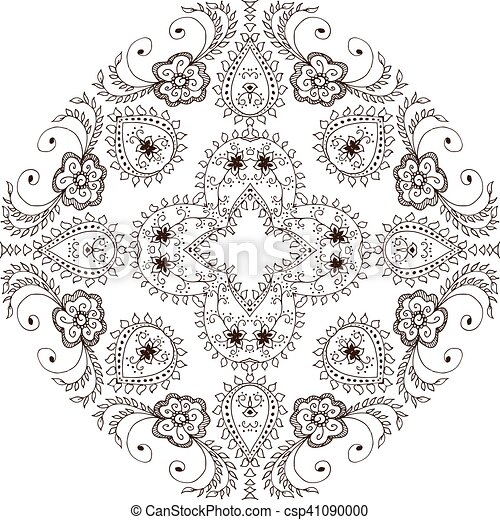 Ornament Round Decorative Elements Oriental Zentangle Anti Stress Therapy Pattern Vector Illustration Outline Mandala For Coloring Book