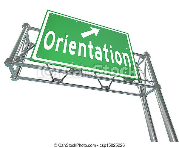 Orientation Green Freeway Sign New Recruit Student Employee - csp15025226